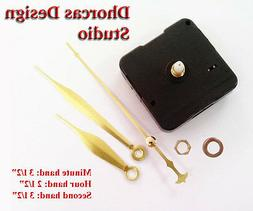 "Quartz Clock Movement kit , 1/4"" threaded motor & gold 3.5"""