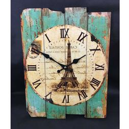 1 Pc Square Battery Operated Rustic Wall Clock for Living Ro