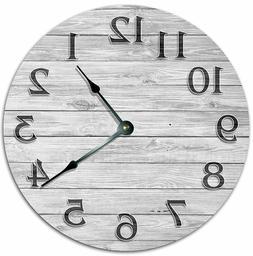 "10.5"" WOODEN GREY BOARD CLOCK - Living Room Clock - Large 10"
