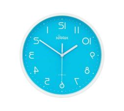 HIPPIH 10 Inch Silent Blue Wall Clock Non-Ticking Indoor Dec