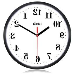 10 Inch Silent Non Ticking Quartz Round Wall Clock by Hippih