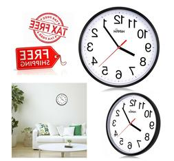 "10"" Round Black Wall Clock Silent Non Ticking Quality Quartz"