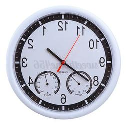 10'' Silent Modern Wall Clocks Thermometer * Humidity Living