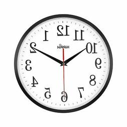 HIPPIH 10'' Silent Wall Clock Non-ticking Digital round cloc