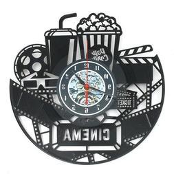 "12"" 12 Inch 3D Black Popcorn Wall Clock Theater Movie Cinema"