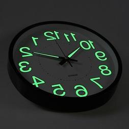 "12"" 12 Inch Luminous Wall Clock Glow In The Dark Silent Quar"