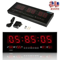 12/24 Hour Digital Large Big Jumbo LED Wall Desk ALARM Clock