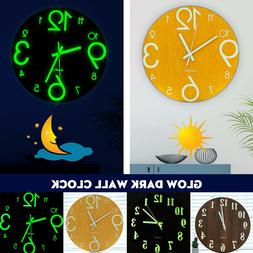 12'' Glow In The Dark Mute Wood Wall Clock For Home Room Ind