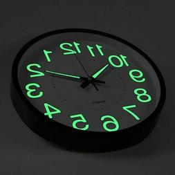12 inch Glow Dark Wall Clock Silent Quartz Luminous Wall Cla