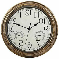 12-Inch Indoor/Outdoor Waterproof Wall Clock with Thermomete