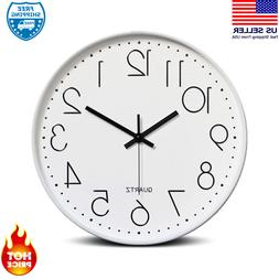 Bekith 12 Inch Modern Wall Clock  Plastic Frame Glass Cover