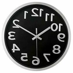 12 Inch Modern Wall Clock Round Glossy Plastic Plating Frame