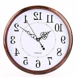 12 inch Retro Clock, Non Ticking Silent Quality Quartz Decor