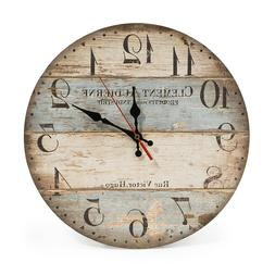 12 Inch Retro Wall Clock Vintage Decor Silent Non Ticking Wa