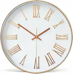 Tebery 12-inch Silent Non-Ticking Round Wall Clocks Decorati