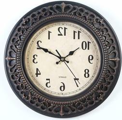 12 Inch Silent Retro Quartz Clock Decorative Wall Clock for
