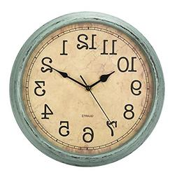 HYLANDA 12 Inch Vintage/Retro Wall Clock, Silent Non-Ticking
