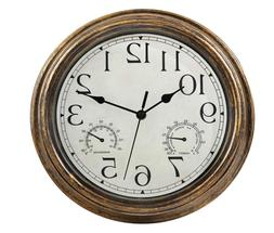 12 Inches Indoor Outdoor Waterproof Wall Clock With Thermome