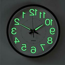 "12""  Luminous Wall Clock Quartz Clocks Glow In The Dark Home"