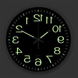 Large Quartz Wall Clock Non Ticking Luminous Number Night Li