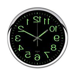 12'' Modern Non-ticking Large Wall Clock Glow In The Dark Si