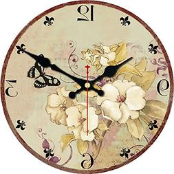 """ShuaXin 12"""" Romantic Flowers Designed Wooden Wall Clocks Wal"""