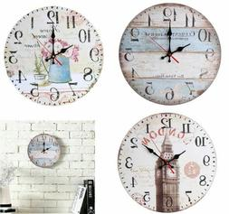 12'' Round Wooden Wall Clock European Household Silent Batte