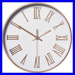 "12"" Silent Non Ticking Round Wall Clocks Decorative Roman Nu"