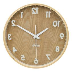 "HIPPIH 12"" Silent Wall Clock Wood Non Ticking Digital Quiet"