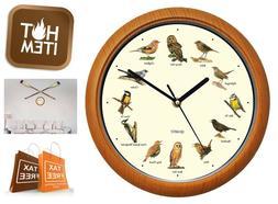"12"" Singing Bird Wall Clock Battery Operated Hourly Alarm Me"