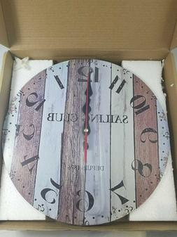 "Grazing 12"" Vintage Arabic Numerals ,Blue Ocean, Weathered B"