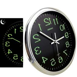 12'' Modern Large Luminous Quartz Wall Clock Non-ticking Glo
