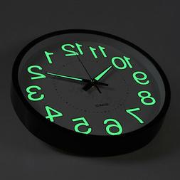 12'' Wall Clock Glow In The Dark Silent Quartz Indoor Noctil