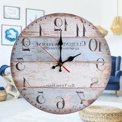 12inch Retro Style Round Wooden Wall Clock Farmhouse Plank C
