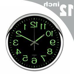 12inch Wall Clock Modern Luminous Quartz Glow In The Dark Ni
