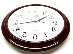 HITO 13'' Silent Non ticking Wall Clock Wood Grain Glass Cov