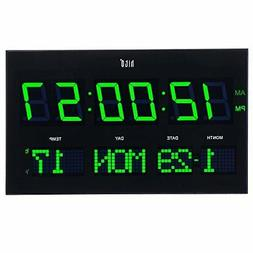 """hito 14.2"""" Large Oversized LED Wall Clock Seconds Date Day"""