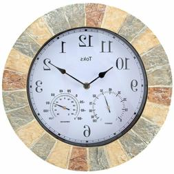 Lilyshome 14-Inch Faux-Stone Indoor Or Outdoor Wall Clock Wi