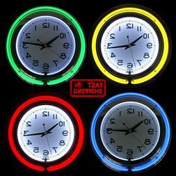 "14"" Neon wall clock retro Battery operated Wall clock Vintag"