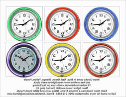 15 Inch Custom Photo Neon Wall Clock, Your Choice Of Colors