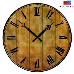 "15"" Large  Retro Rustic Living Room Wall Clocks Home Room De"