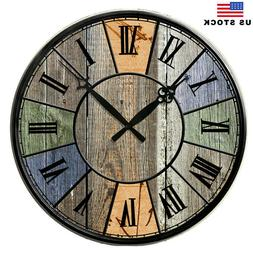 """15"""" Large Retro Wooden Wall Clocks Home Room Silent Work Dec"""