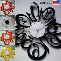 "15"" Large Wall Clocks Acrylic Creative Art Number Clock Home"