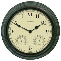 """15""""Outdoor Clock Thermometer & Humidity All-Weather Plastic"""