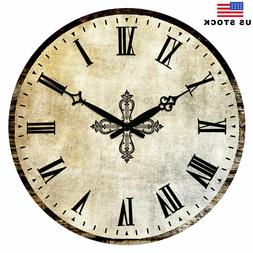 "15"" Retro Rustic Living Room Wall Clocks Home Decor Antique"