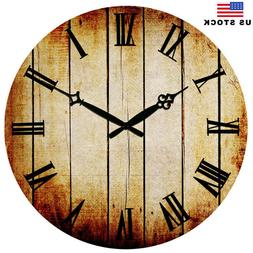 "15"" Retro Wooden Wall Clocks Home Room Decor Antique Time Eu"
