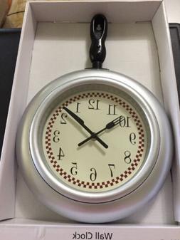 "15"" Silver Red Check Black Frying Pan Kitchen Wall Clock Fla"