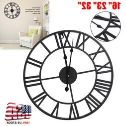 """16"""" 23"""" 32"""" Large Garden 3D Wall Clock Roman Numerals Gear R"""