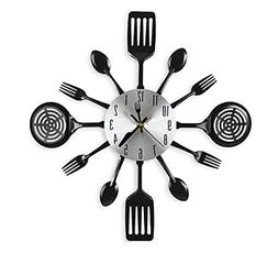 CIGERA 16 Inch Large Kitchen Wall Clocks with Spoons and For