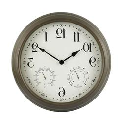 "16"" Outdoor Clock with Thermometer & Hygrometer - Backyard E"